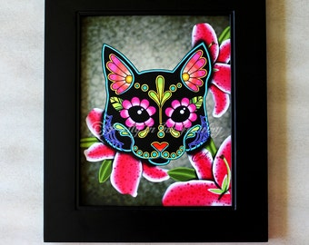 CLEARANCE - Day of the Dead Black Cat Sugar Skull Art Print - 8 x 10 - Prints for Pits Rescue Donation