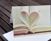 valentines' day card set / note card, love of books, i heart books, literature, book-lover, heart, fine art photography