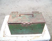 Vintage Green Iron Tool Box..Industrial Toolbox..Hinged Lid..Chippy.. Anthropologie style..Primitive..Rusty Patina...Metal Storage Box