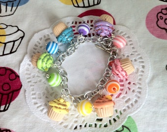 Fruit Cupcake Charm Bracelet
