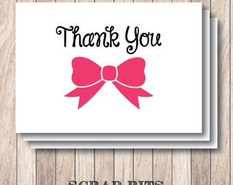 Bow Thank You Note Card Set . Custom Colors (Qty. 8)