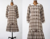 Vintage Boho Plaid Dress: 1980s Checkered Coton Shirtdress, Prairie Style Country Smock, Low Waist, Back to School, Large XL Plus