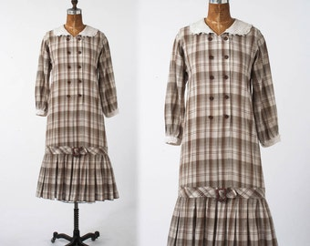Vintage Boho Plaid Dress: 1980s Checkered Coton Shirtdress, Prairie Style Country Smock, Low Waist, Back to School, Large XL Plus