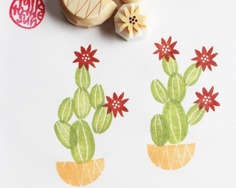 cactus hand carved rubber stamp. cactus pot stamp. gardening lovers. birthday scrapbooking. gift wrapping. holiday crafts. set of 5. no4
