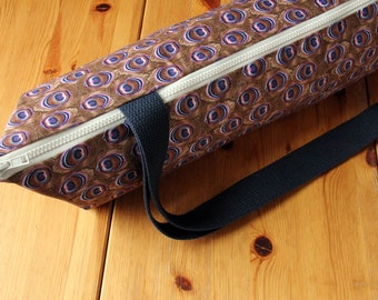 """Yoga Mat Bag with Zipper and Pocket, Purple and Brown Peacock Feathers, Fits 24"""" wide mats"""