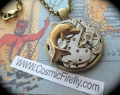 Steampunk Necklace Steampunk Jewelry Sealife Necklace Dolphin Necklace Vintage Watch Movement Round Movement Unisex Steampunk Pendant