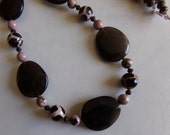 Pale Pink Dzi Agate Smoky Quartz Rhodonite & Chocolate Brown Glass Necklace