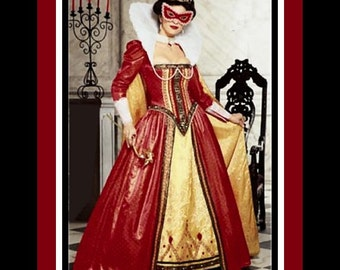 MASQUERADE QUEEN-Costume Sewing Pattern-Formal Court Gown-Extended Fan Collar-Boned & Lined Bodice-Long Cape-Mask-Uncut-Size-14-20-Rare
