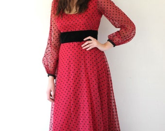 Vintage 60's Red and Black POLKA DOT Maxi Dress Size S