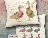 FLORAL DUCKS - 2 Digital Sheets Printable Images to print on fabric or paper, Iron On Transfer for totes t-shirts pillows home decor