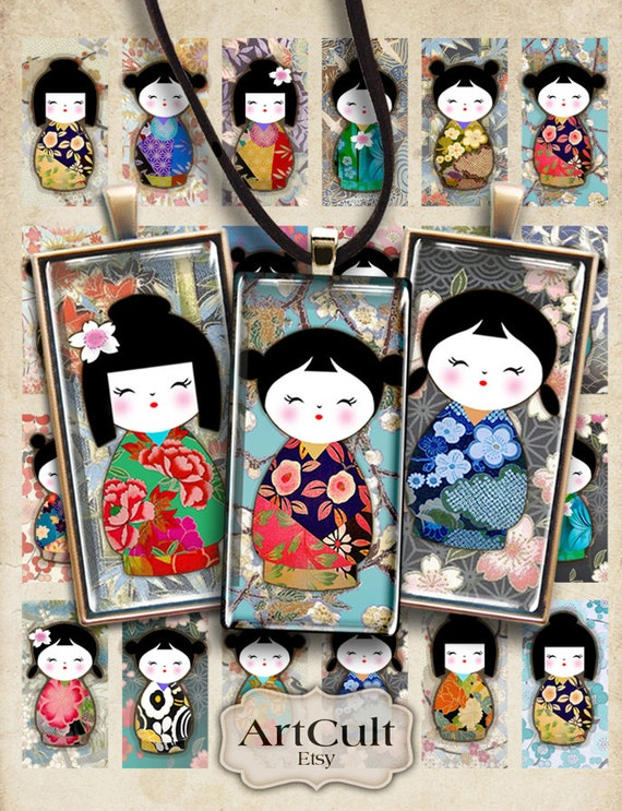 Printable Download CHIYOGAMI DOLLS 1x2 inch Digital Collage Sheet Kokeshi for domino pendants bezel trays magnets scrapbooking by ArtCult
