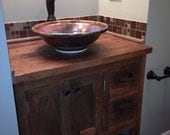 YOUR Custom Rustic Barn Wood Vanity or Cabinet with a Shelf and 2 Drawers FREE SHIPPING-BWV625
