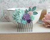 Mint Blue Rose Flower, Turquoise, Lavender Purple, Pink, Mint, Plum Amethyst, Verdigris Brass Leaf Hair Comb, Rustic Bridesmaids Gift