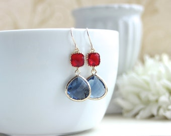 Dark Navy, Sapphire Blue, Ruby Red Glass Framed Drop, French Hook Earrings. Red and Blue Wedding. Bridesmaids Gift. Sister, Friend,