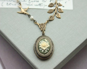 Ivory Rose Flower, Green Nature Inspired Oval Locket Necklace. Flying Sparrow Bird, Leaf  Rustic Vintage Style. For Wife. Bridesmaids Gifts.