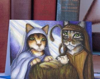 Feline Nativity Card, Cats Dressed as Mary, Joseph, and Baby Jesus, Christmas Card