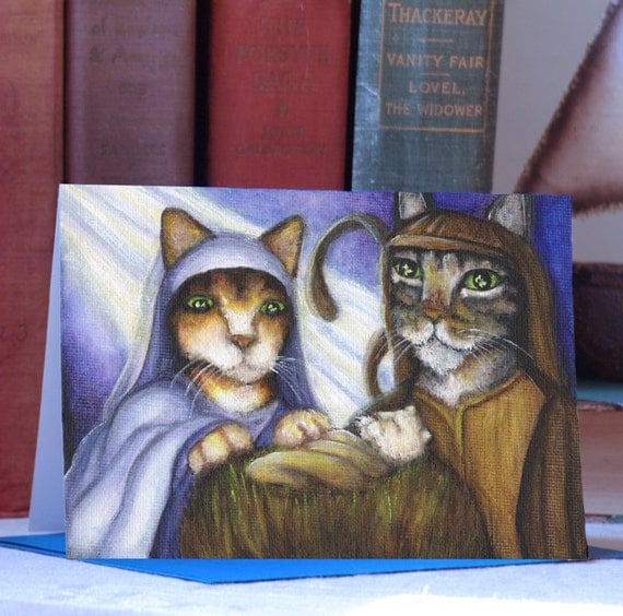 Feline Nativity Card, Cats Dressed as Mary, Joseph, and Baby Jesus, Christmas Card