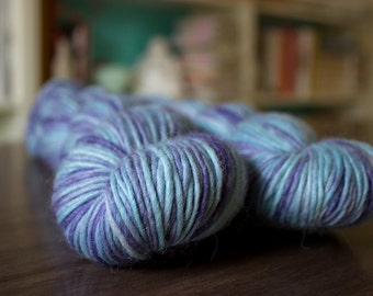 Kasumi - Alpaca, Merino, Silk single - OOAK 250 yards DK Sport yarn blue turquoise purple lilac soft knit crochet