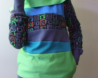 SALE!! TOXIC - Hoodie Sweatshirt Sweater - Recycled Upcycled - One of a Kind Women - X-SMALL