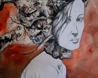 Corollaire - Woman Portrait - Mixed Media - Original surrealist drawing
