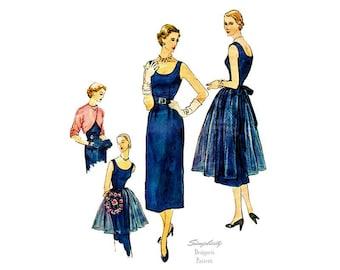 Vintage Sheath Dress Pattern Simplicity Designer's 8252, 50s Classic Cocktail Dress, Scoop Neck, Sleeveless, with Bolero & Apron