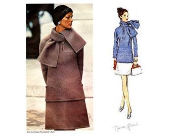 60s Nina Ricci Dress Pattern Vogue Paris Original 2283, Loose fitting Top, Scarf & A Line Skirt Vintage Sewing Pattern, Uncut