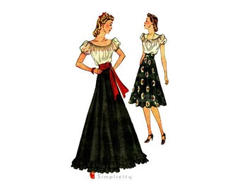 Vintage 1930s Sewing Pattern Simplicity 3130, Womens Peasant Blouse & Full Skirt in Two Lengths, Puff Sleeve Blouse, Evening Skirt, Bust 32