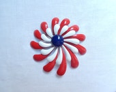 vintage enamel brooch pin, red white blue, patriotic, Fourth of July, 3 inch vintage jewelry