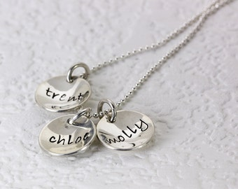 1,2,3 or 4 Sterling Silver Name Pendants, Hand Stamped Personalized Necklace - Name Jewelry - Christina Guenther