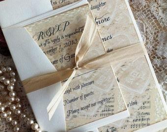 Vintage Lace & Sheet Music Wedding Invitation SAMPLE Handmade by avintageobsession on etsy
