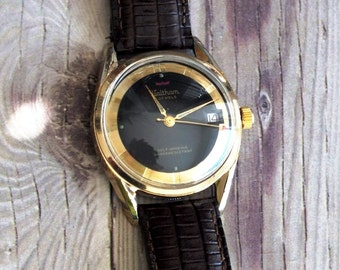 Vintage Waltham 1960s Black Dial Automatic Wrist Watch by avintageobsession on etsy