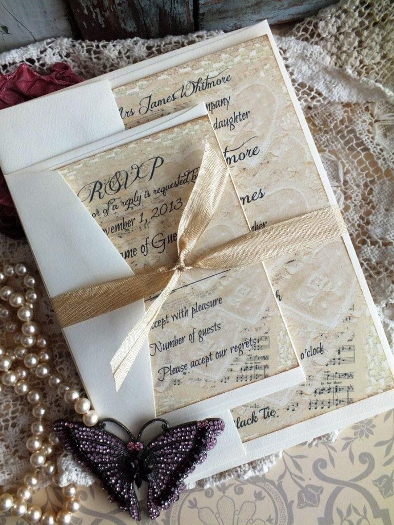 vintage lace  u0026 sheet music wedding invitation sample handmade