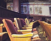 Abandoned Photography, Urban Decay Photograph, Old Theater, Mustard Yellow and Eggplant, Haunted Halloween Decor, Theatre Picture