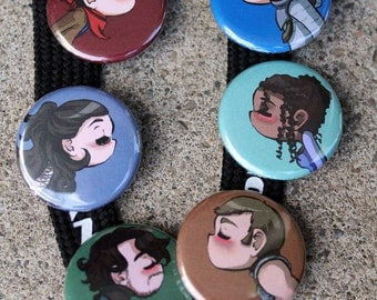 BBC Merlin Kissing Buttons (Shipping Buttons)