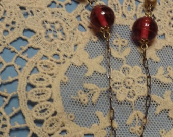 Art Nouveau Necklace with Ruby Red Rhinestones--Frame of Flowers