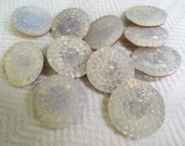 Foil Back Glass Vintage Buttons - Set of 6 Antique Czech 3/4 inch 19mm for Jewelry Beads Sewing Knitting
