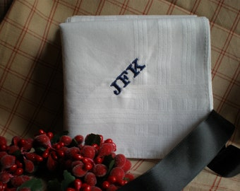 "TWO Gift Hankerchiefs Men.Large 18"" Custom Personalized Wedding Groom Dad Husband  Birthday Anniversary"