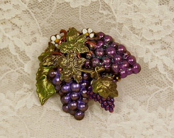 Hand Painted Purple Grape Collage Brooch Brass Charm Pin, Grape Jewelry, Wine Lovers Jewelry, Purple Gift, Made in USA