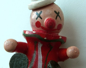Vintage Wooden Christmas Ornament - Little clown - Perfect for the Holidays on your Christmas Tree