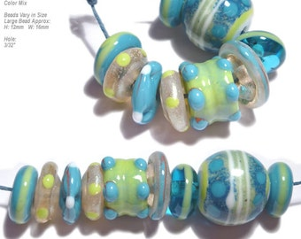 COLLECTION 28 Lampwork Bead Set Handmade Natural Color Mix in Organic Design