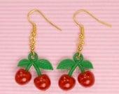 Cherry Earrings Kawaii Jewelry Sweet Lolita Earrings Fruit Earrings Red Cherry Earrings for Teens Women Fruit Jewelry Cute