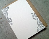 Antique Black Swirl Letterpress Note Cards - 5 pack