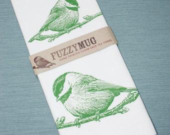 Chickadee Bird Tea Towel in Spring Green - Hand Printed Flour Sack Tea Towel