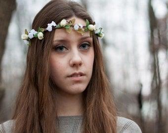 Ivory hair wreath silk Flower crown hand Made In Michigan by AmoreBride Bridal Woodland 2017 Wedding Trends accessories flower girl halo