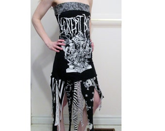 SALE Decrepit Birth Tattered Death Metal Dress DIY Upcycled