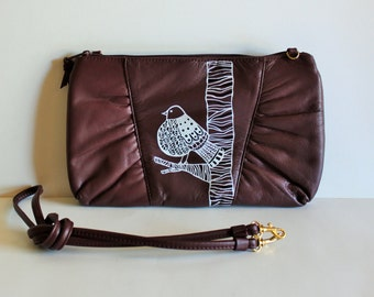 VINTAGE burgundy PURSE with hand painted BIRD