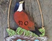 No Soliciting Sign Robin - Original Hand Painted Wood - Think Spring