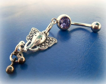 Purple India Elephant Belly Ring,Trendy Belly Ring,Tribal Belly Ring Lucky Belly Ring,Beach Belly,Belly Dancer,Ready to Ship,Direct Checkout