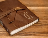 Archer's Bow and Arrow Leather Journal - 6 x 4 Hand Embroidered Blank Book - Archery Embroidery - Rustic Geometric - A6 Soft Wrap Cover