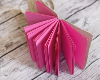Bubblegum Pink Pages - Leather Wrap Journal - Handbound Leather Blank Book - 6 x 4 - Custom - Colour - A6